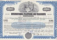 International Telephone and Telegraph Corporation. Maryland. 8.90% debenture. 1000$. 1980's
