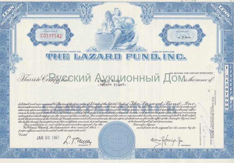 The Lazard Fund, Inc. Maryland. Less than 100 shares. 1960's (blue)