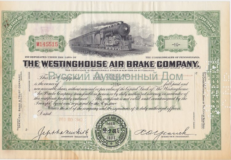 The Westinghouse Air Brake Company. Pennsylnania. Less than 100 shares. 1943 (green)