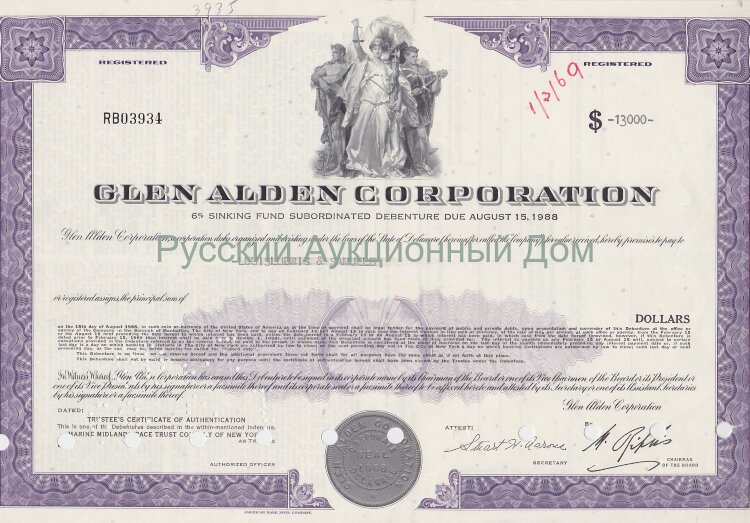 Glen Alden Corporation. Delaware. 6% debenture. (purple)