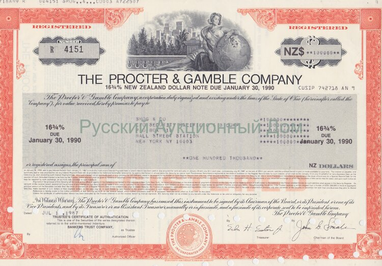 The Procter & Gamble Company. Ohio. 16 3/4% new zeland dollar note. 1980-s  (red)