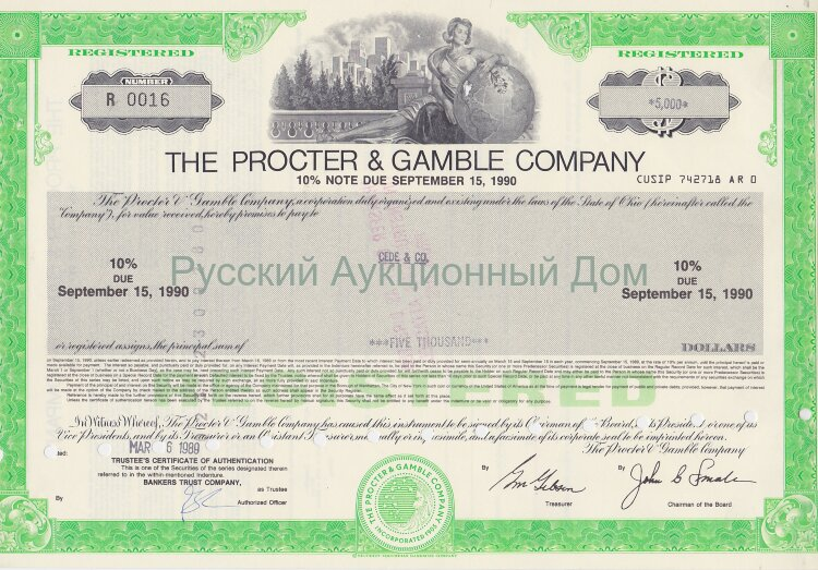 The Procter & Gamble Company. Ohio. 10% note. 1980-s  (green)