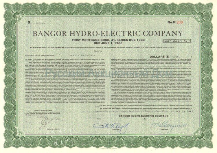 Bangor Hydro-Electric Company. State of Maine. 4% bond. 1980's (green)