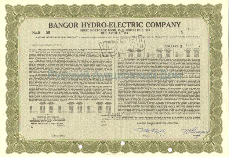 Bangor Hydro-Electric Company. State of Maine. 6 3/4% bond. 1980's (olive)