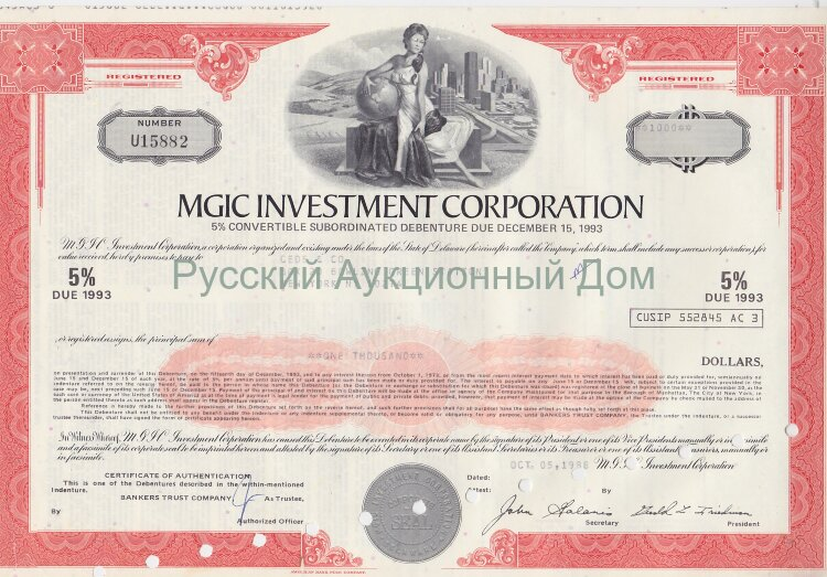 MGIC Investment Corporation. Delaware. 5% debenture. 1980's