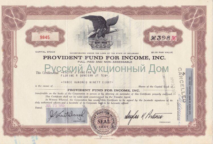 Provident Fund For Income, Inc. Delaware. Stock certificate. 1960's