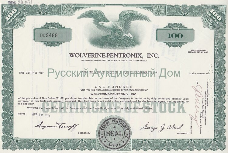 Wolverine-Pentronix, Inc. Michigan. Certificate for 100 shares, 1970's