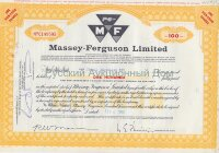 Massey-Ferguson Limited. Canada. Stock certificate, 100 shares. 1960's (yellow)