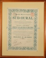 Societe Metallurgique du Sud-Oural. Obligation de 500 francs. Liege, 1910