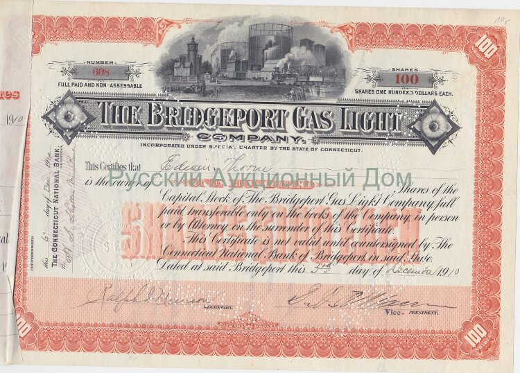 The Bridgeport Gas Light Company, Connecticut. 100 shares. 1910
