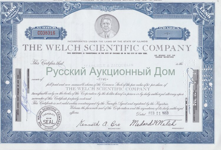 The Welch Scientific Company. Illinois. Less than 100 shares. 1960's (blue)