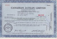 Canadian Javelin Limited, сertificate of shares. Canada, 1960-1970's (blue)