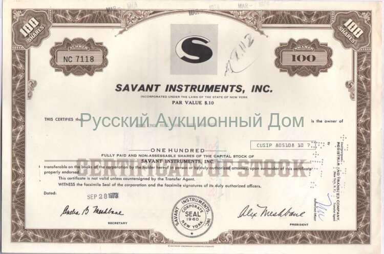 Savant Instruments, Inc. New York. 100 shares. 1973