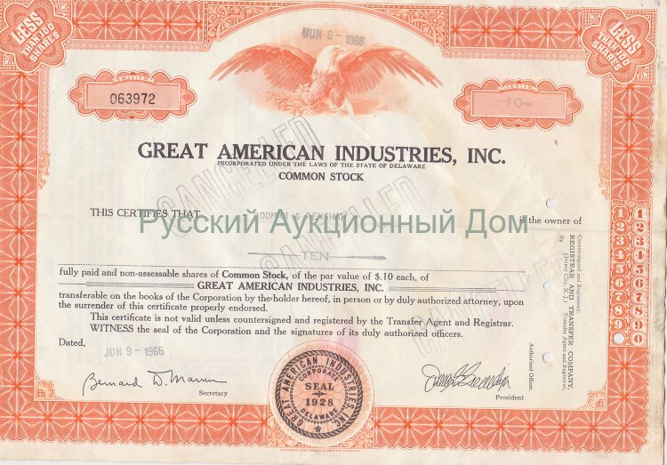 Great American Industries, Inc. Delaware. Less than 100 shares. 1960's