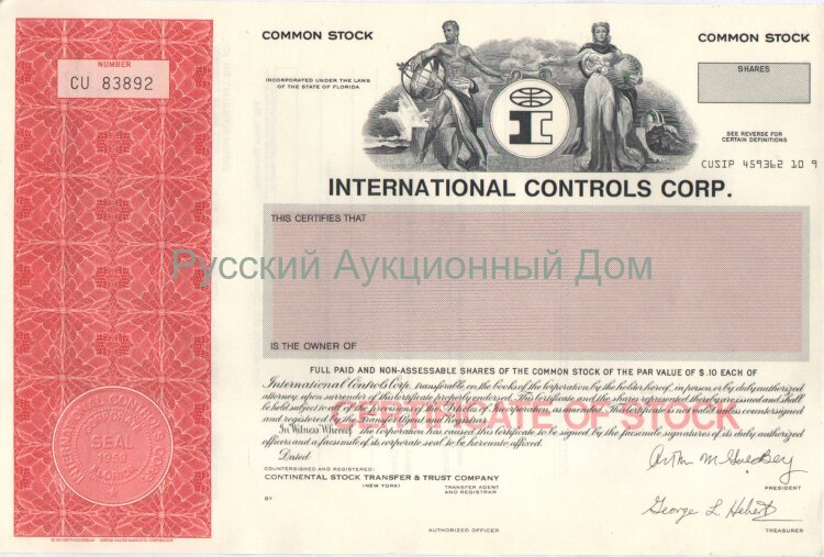 International Controls Corp. Florida. Stock certificate. Blank form.