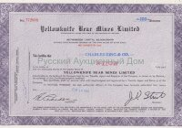 Yellowknife Bear Mines Limited. Stock certificate. Ontario, 1960's