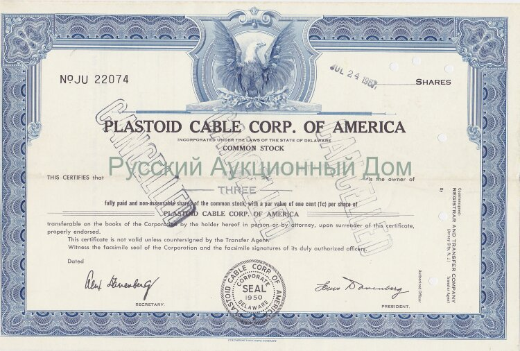 Plastoid Cable Corp. of America. Delaware. Stock certificate. 1960's