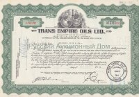 Trans Empire Oils Ltd. Stock certificate. Calgary, Alberta. 1950's