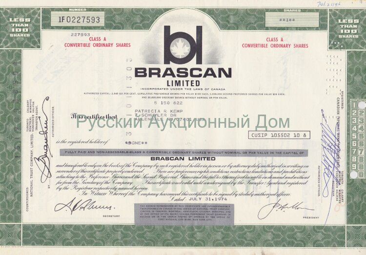Brascan Limited, less than 100 shares. Canada, 1970's