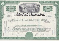 Admiral Corporation. 100 shares. 1960-1970's. Delaware (green, common stock)