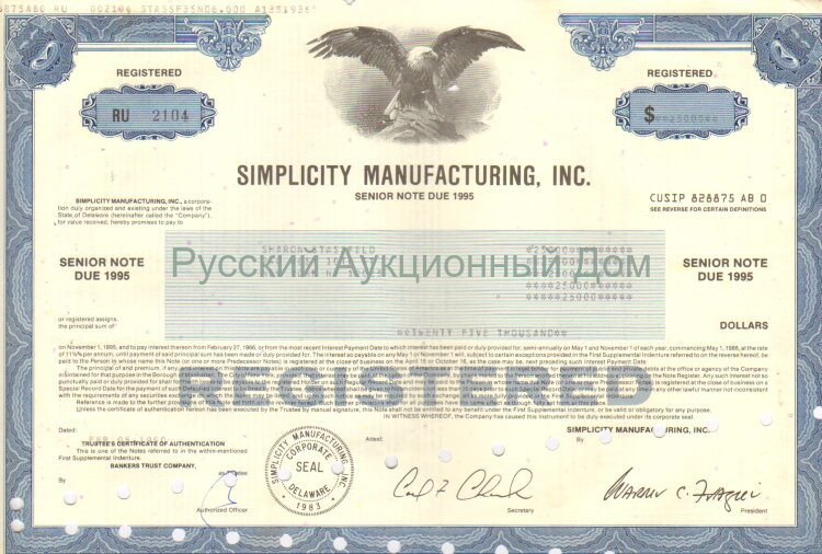 Simplicity Manufacturing, Inc. Delaware. Note. 1990's