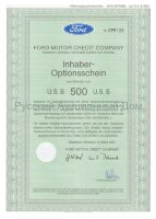 FORD MOTOR CREDIT COMPANY. Inhaber optionsschein 500 U.S.$. Dearborn, Michigan, 1987