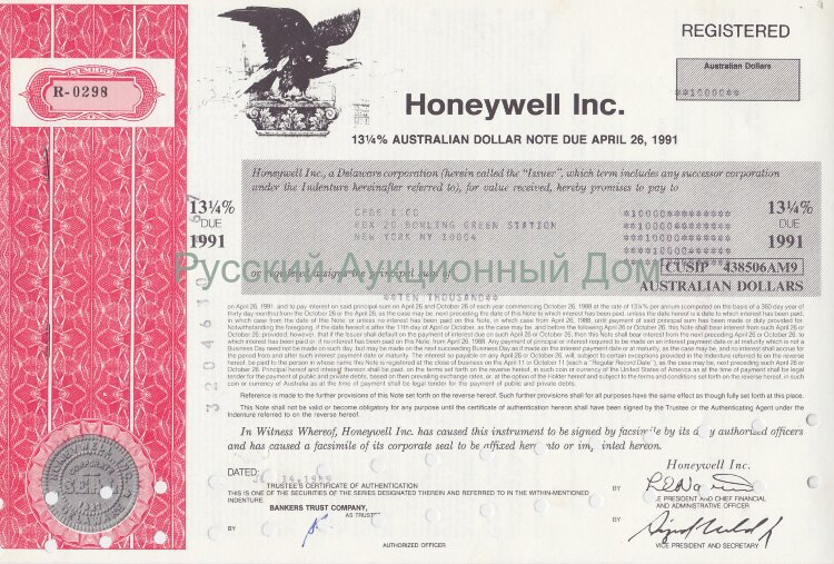 Honeywell Inc.  Delaware. 13 1/4% australian dollar note. 1980's
