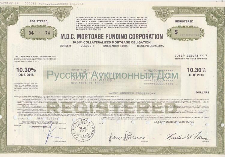 M.D.C. Mortgage Funding Corporation. Delaware. Obligation. 1980's (olive)