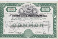 American Cable & Radio Corporation. Less than 100 shares. Delaware. 1950's (green)