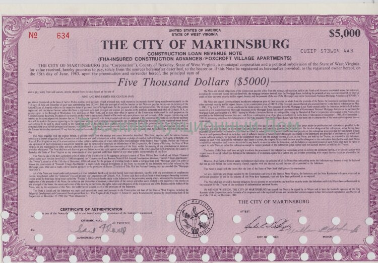 The City of Martinsburg. West Virginia. Note. 5000$. 1980's