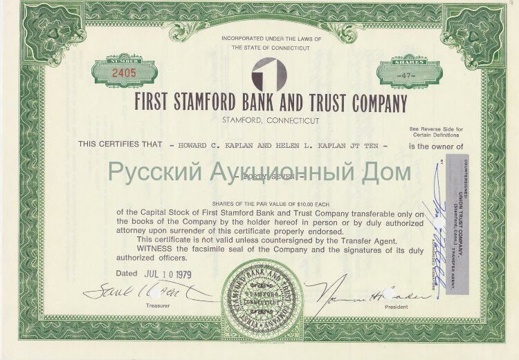 First Stamford Bank and Trust Company. Stamford, Connecticut. Shares. 1970's