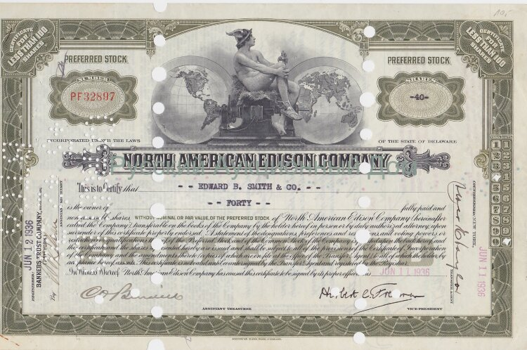 North American Edison Company. Delaware. Preferred stock. Less than 100 shares. 1930's