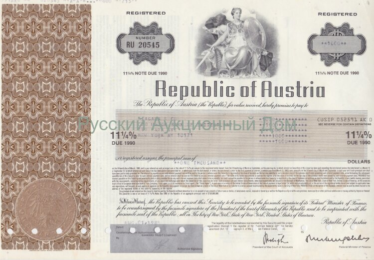 Republic of Austria. 11 1/4% state bond. 1980-1990's