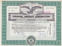 Colonial Aircraft Corporation, New York. 100 shares. 1960's