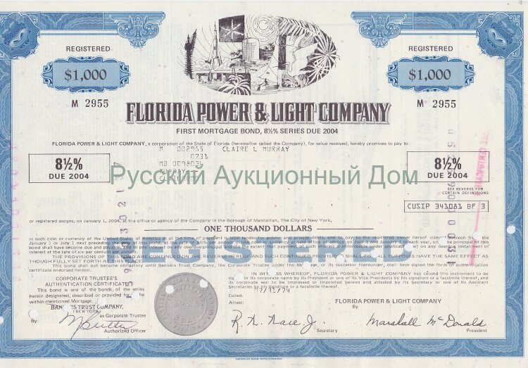 Florida Power & Light Company (FPL). Florida. 8 1/2% first mortgage bond. 1970's (blue) /1000$