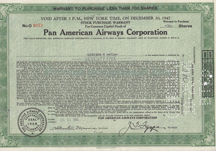 Pan American Airways Corporation. Delaware. Less than 100 shares. 1940's (green)