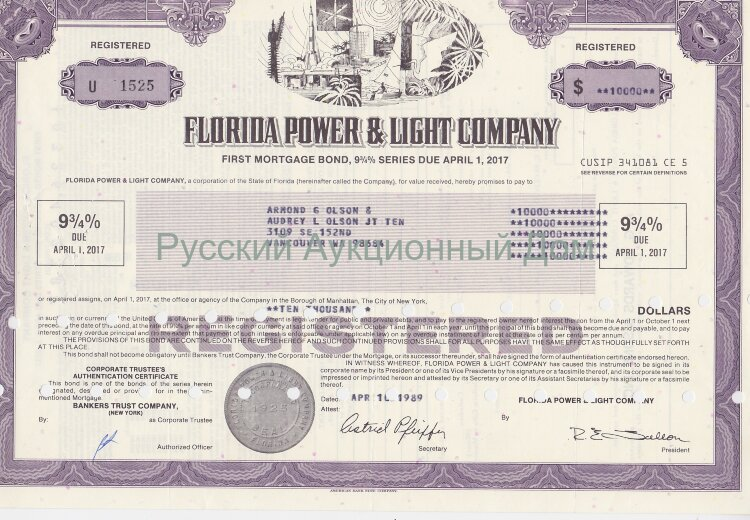 Florida Power & Light Company (FPL). Florida. 9 5/8% first mortgage bond. 1980's (purple)