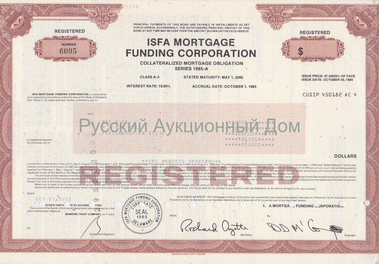 ISFA Mortgage Funding Corporation. Delaware. Obligation. 1980's (brown)