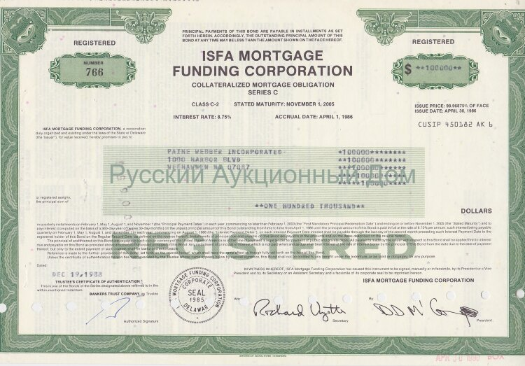 ISFA Mortgage Funding Corporation. Delaware. Obligation. 1980's (green)