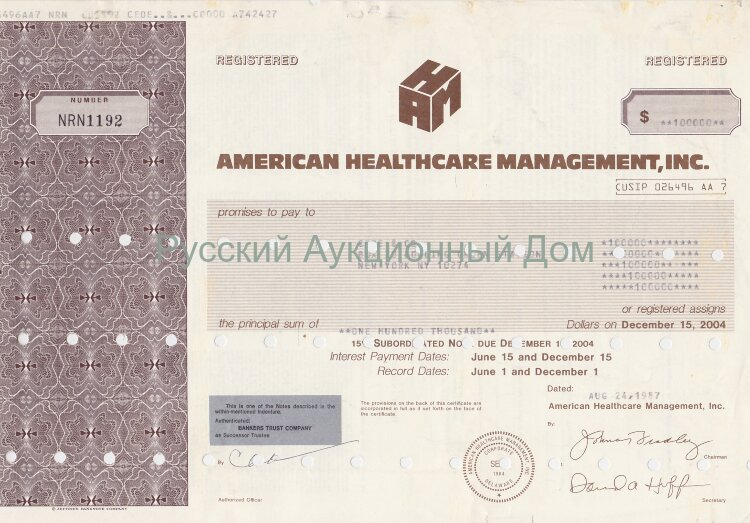 American Healthcare Management, Inc. 15% subordinated note. Delaware. 1980's