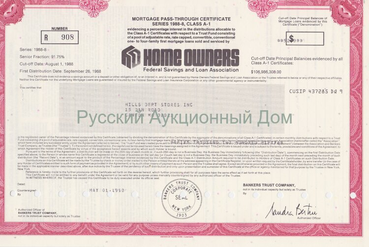 Home Owners. Federal Savings and Loan Association. Mortgage certificate. 1990's