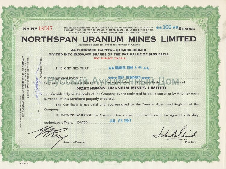 Northspan Uranium Mines Limited. Province of Ontario, Canada. Stock certificate. 1950's