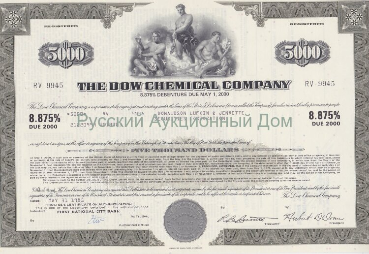 The Dow Chemical Company. Delaware. 8.875% debenture. 5000$. 1980's