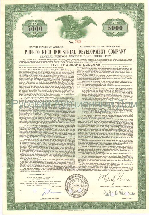 Puerto Rico Industrial Development Company. Puerto Rico. Bond. 5000$. 1960's (green)
