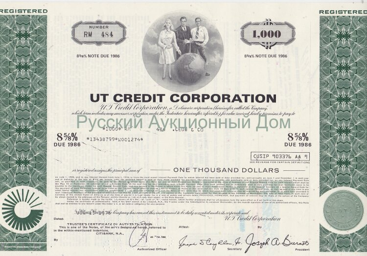 UT Credit Corporation. Delaware. 8 5/8% debenture. 1000$. 1970's (green)