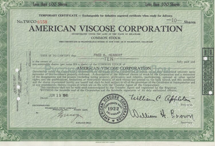 American Viscose Corporation. Less than 100 shares. Delaware. 1940's