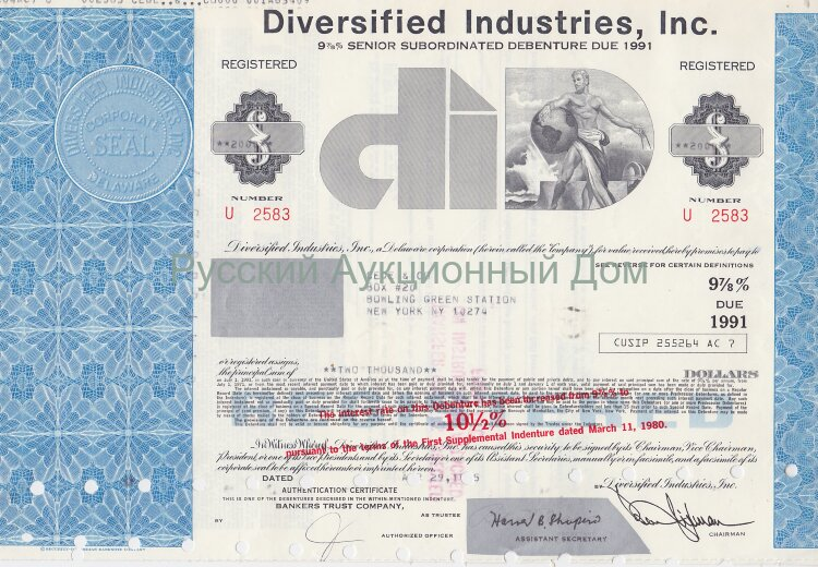 Diversified Industries, Inc.  Delaware. 9 7/8% debenture. 1970's