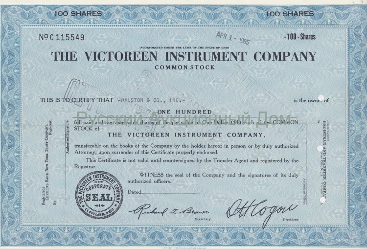 The Victoreen Instrument Company. Ohio. 100 shares. 1960's (blue)