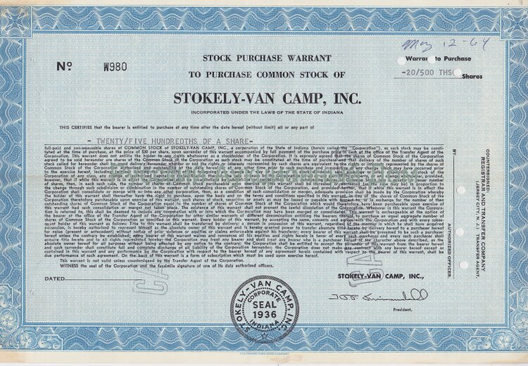 Stokely-Van Camp, Inc. Indiana. Stock certificate.
