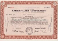 Kaiser-Frazer Corporation. Nevada. Stock certificate, 100 shares. 1948